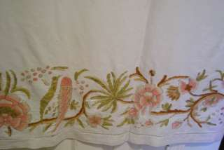 Large English Wool Crewel Work Antique Birds Flowers