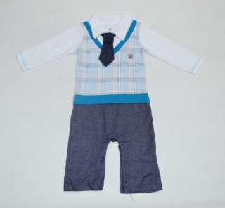 ... NWT Boy Baby Formal Suit Tuxedo Set Romper Pants 0 24M One piece ... f33160d31e