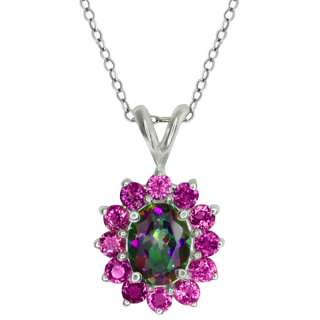 56 Ct Oval Green Mystic Topaz and Pink Sapphire Sterling Silver