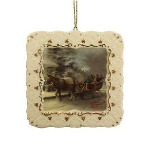 Thomas Kinkade 3 Picture Frame With Horse & Sleigh Christmas Ornament