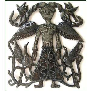 Folk Art Angel   Metal Art Wall Hanging   17 x 17