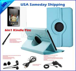 For  Kindle Fire 360°8in1 PU Leather Case Cover /Earphone/USB