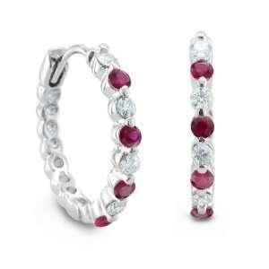 14k White Gold Natural Ruby and Diamond Hoop Earrings (G