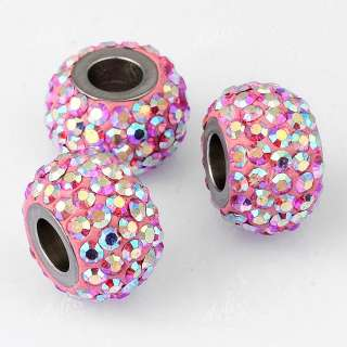 Piece Czech AB Pink Crystal European Charm Beads Rhinestone Steel