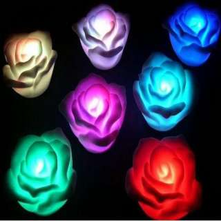 Colorful Rose LED 7 Color Change Lamp Night Light Wedding Party Decor