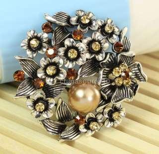 Champagne flower pearl swarovski crystal vintage tibet silver pin