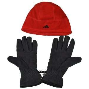Adidas Mens Clima Warm Beanie Hat and Gloves Set Gray Red