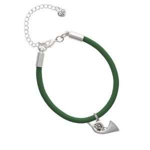 French Horn Charm on a Kelly Green Malibu Charm Bracelet
