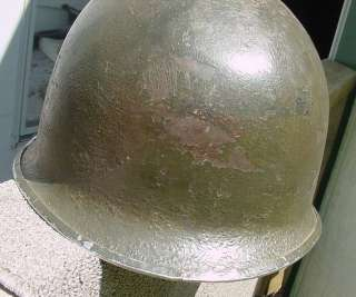 WWII US MARINE CORPS COMBAT HELMET W/ 2ND PATTERN CAMO COVER USMC