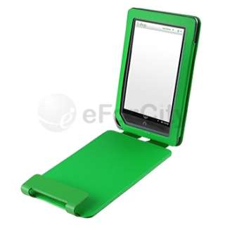 For B&N Nook Color Green Flip Back Folio Leather Case Cover Pouch with