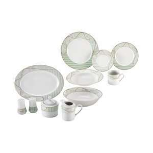 Nikita 47pc Fine Porcelain China Set with Green and Gold Tone Trim