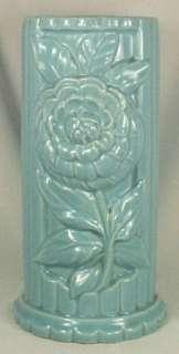 1950s Beautiful BLUE ZINNIA ART POTTERY FLOWER VASE Ex