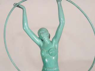 Art Deco Bronze Hoop Girl Statue by Charles Sykes 1920s