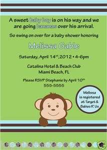 Printable Baby Shower invitation Boy Monkey Personalize