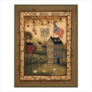 COUNTRY God Bless America FLEECE BLANKET/Throw~Houses, Sheep, Betsy