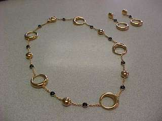 18k Chimento Gold Necklace & Earring Set Unusual with Black Onyx Make