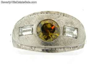 Natural Fancy Golden Brown Diamond 14k White Gold Ring