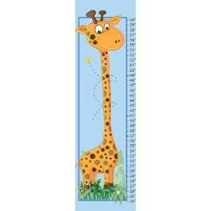 Giraffe Baby Blue Canvas Growth Chart Baby