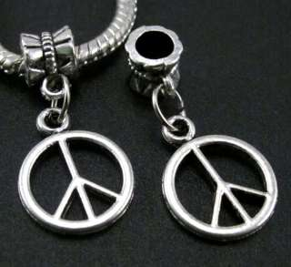 8pcs Tibetan silver Peace Sign beads Fit Charms Bracelet f285