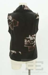 Costume National Black & Grey Floral Print Silk Turtleneck Sleeveless