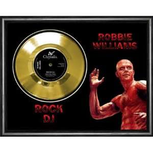 Robbie Williams Rock DJ Framed Gold Record A3 Musical