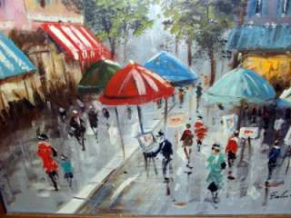 FALINI VINTAGE OIL FRENCH PARIS OIL PAINTING 1970S OLD