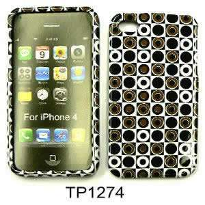 FOR APPLE IPHONE 4 CASE COVER SKIN BLACK GREEN POLKA DOTS