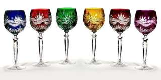 HAND CUT MULTI COLORED CRYSTAL GOBLET SET   NEW In BOX