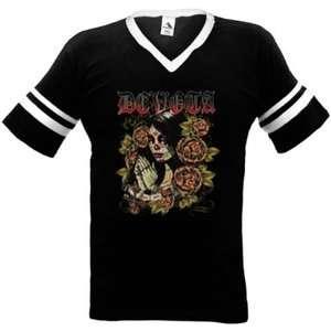 Devota Dia De Los Muertos Mens V neck Ringer T shirt Gothic Skull