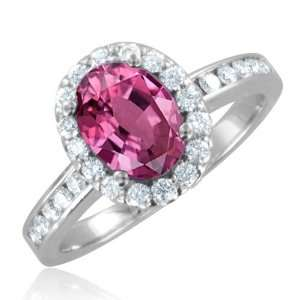 Natural Pink Sapphire Diamond Engagement Ring 18k White Gold Halo Ring