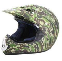 DOT ATV Dirt Bike MX Green Camo Motorcycle Helmet