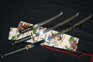 Handmade Clay Tempered Japanese Sword Set(Katana+Wakizashi+Tanto