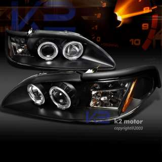 1994 1998 FORD MUSTANG LED PROJECTOR HEADLIGHTS KIT BLK