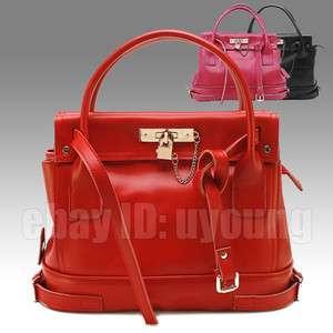 High quality genuine leather fashion lock bag womens shoulder handbag