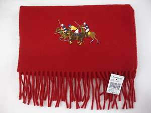 Ralph Lauren SCARF MUFFLER Lambs Wool Red Dual Match Pony Gift for Him