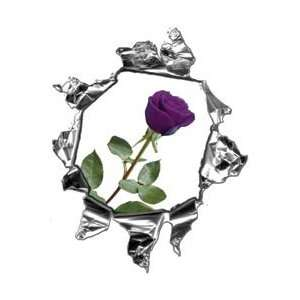 Mini Ripped Torn Metal Decal with Purple Rose  REFLECTIVE
