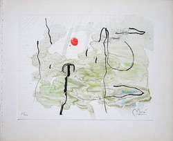 JOAN MIRO Signed 1963 Original Color Lithograph from Trace sur leau