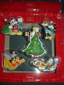 LOT 5 Hallmark SET Mickey Mouse Minnie Ornaments NEW pluto donald