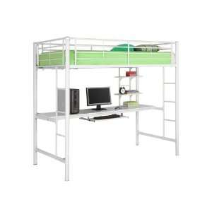 Walker Edison Attractive Twin Wood Loft Bed With Desk In