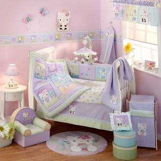 Green, Violet & Purple Hello Kitty Baby Girl Nursery Crib Bedding