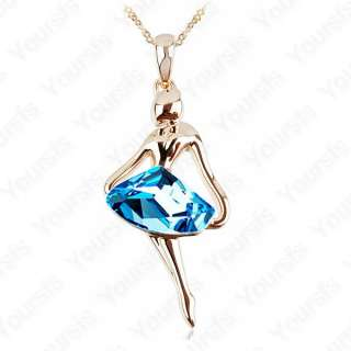 Unique18K gold plated Ballet Angel Gorgeous Blue Swarovski Crystal