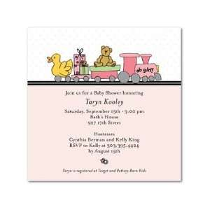Baby Shower Invitations   Train Shower Pink By Simply Put