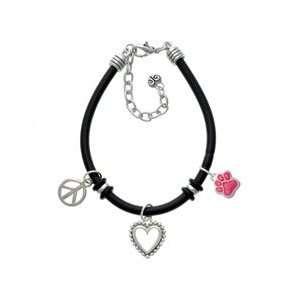 Small Hot Pink Glitter Paw Black Peace Love Charm Bracelet