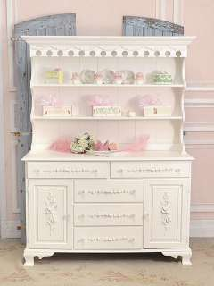 Shabby Cottage Chic White China Cabinet Hutch French