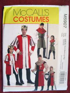 McCALLS MEDIEVAL STYLE KING & KNIGHTS COSTUME PATTERN 5907 Sz S Xlg