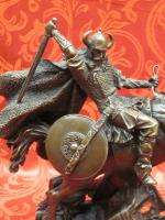 Art Deco Bronze Sculpture Statue Figure Horse Viking Warrior Sword