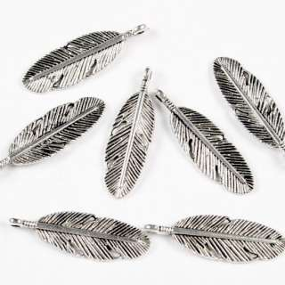 50 PCS TIBETAN SILVER FEATHER CHARM PENDANT BEAD 30X9MM