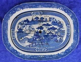 Antique English Blue Willow Fish Platter & Mazarine