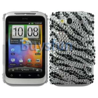 Black Zebra Bling Hard Cover Case Skin for HTC Wildfire S