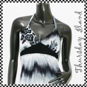 Grey sexy leopard halter maxi long dress Sz S M 2 4 6